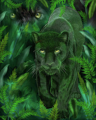 Print featuring the mixed media Shadow Of The Panther by Carol Cavalaris