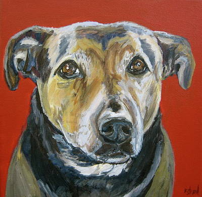 Dog Portrait Painting - Shadow Portrait Of A Pit Mix by Kellie Straw