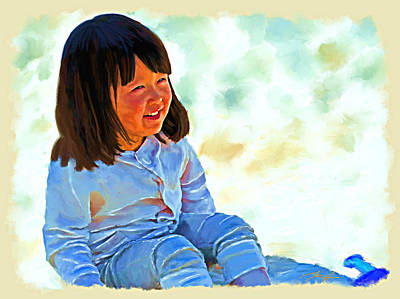 Kids Playing In Sand Painting - Shadow Sand Girl by Tim Tompkins