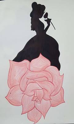 Beauty And The Beast Drawing - Shadowed Belle by Shelby Miller