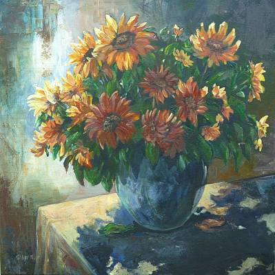 Painting - Shadowed Sunflowers by Denise Ivey Telep