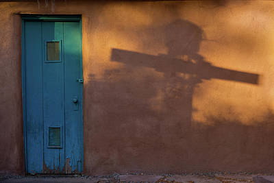 Adobe Photograph - Shadows Adobe Wall by Steve Gadomski