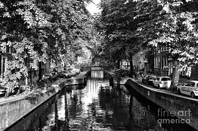 Shadows Along The Amsterdam Canal Mono Art Print by John Rizzuto