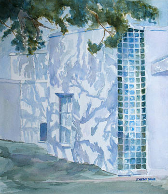 Stucco Painting - Shadows Glass And Leaves by Jenny Armitage
