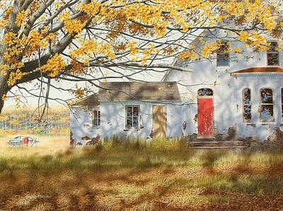 Egg Tempera Painting - Shadows In Autumn by Conrad Mieschke