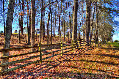 Split Rail Fence Photograph - Shadows In Autumn by Reid Callaway