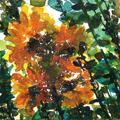 Shadows Of Sunflowers Art Print by Garima Srivastava