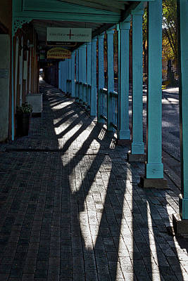 Photograph - Shadows On A Covered Sidewalk - Santa Fe by Stuart Litoff