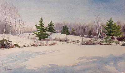 Shadows On Snow In The Canadian Shield  Art Print by Debbie Homewood