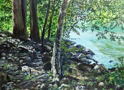Painting - Shadows On The Bank by William Brody