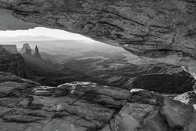 Photograph - Shadows Under The Mesa Arch - Black And White Utah Landscape  by Gregory Ballos