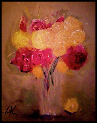 Painting - Shadowy Rose Garden Bouquet Painting by Lisa Kaiser