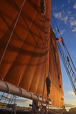 Habor Photograph - Shadowy Sails Boston Harbor Sloop Boston Ma by Toby McGuire