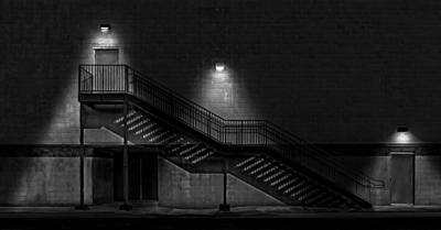 Photograph - Shadowy Staircase - Black And White Version by Frank J Benz