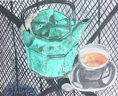 Painting - Shady Coffee And Tea Time  by Dottie Phelps Visker