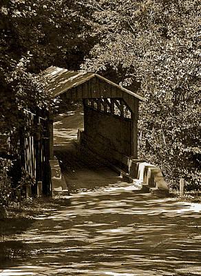 Shady Covered Bridge In Chocolates Art Print