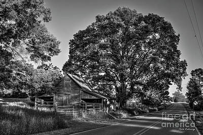 Photograph - Shady Friendship B W Oconee County Barn Oak Tree Art by Reid Callaway