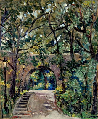 Painting - Shady Path Near The Cloisters Fort Tryon Park Nyc by Thor Wickstrom