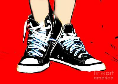 Converse Digital Art - Shae's Sneaks by Lynn Reid