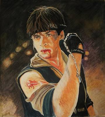 Shah Rukh Khan As Max Dias In Josh Art Print by Linda Prediger