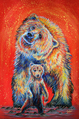 Grizzly Bear Painting - Shake It Off by Teshia Art