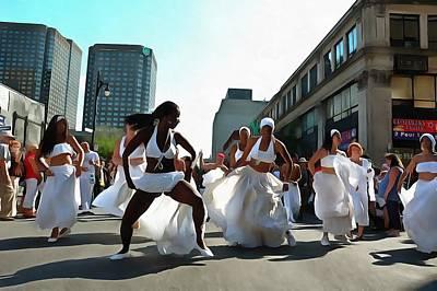 Rire Digital Art - Shake It, Street Dancers In White by Austin Kapfumvuti