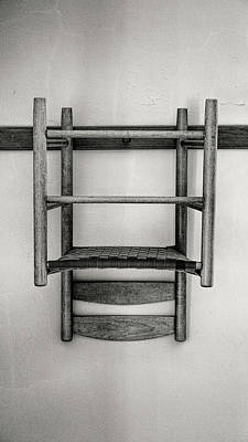 Hancock Village Photograph - Shaker Chair And Rail - Bw by Stephen Stookey