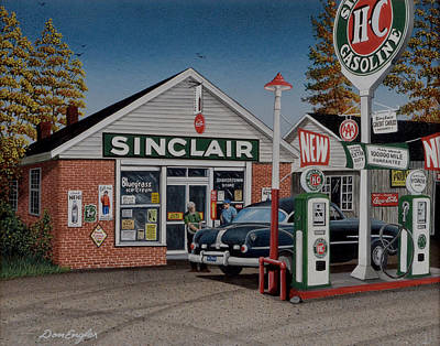 Service Station Painting - Shakertown Store by Don Engler