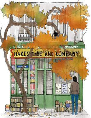 Paris Shop Digital Art -  Shakespeare And Company - By Diana Van by Diana Van