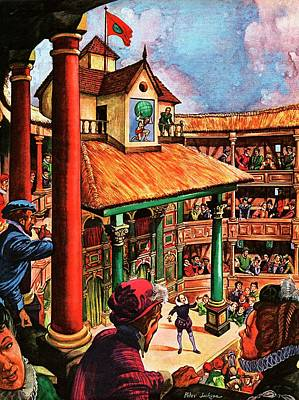 Theater Drawing - Shakespeare Performing At The Globe Theater by Peter Jackson