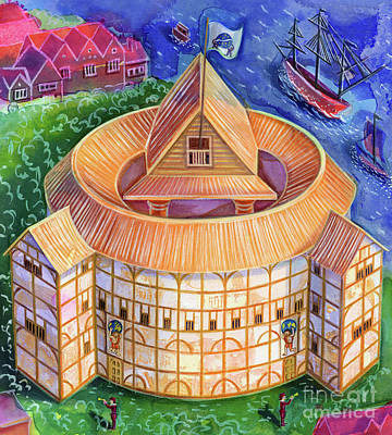 Water Play Painting - Shakespeare's Globe Theater by Jane Tattersfield