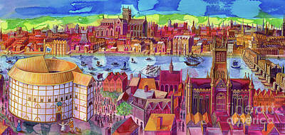 Stratford Painting - Shakespeare's Globe Theater On The Southbank by Jane Tattersfield