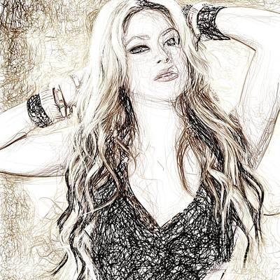 Shakira Drawing - Shakira - Pencil Art by Raina Shah