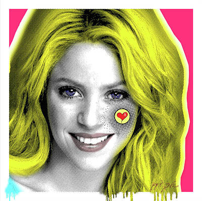 Shakira Painting - Shakira, Pop Art, Pop Art, Portrait, Contemporary Art On Canvas, Famous Celebrities by Dr Eight Love
