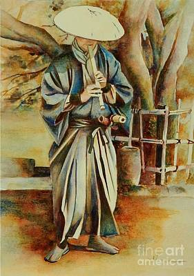 Bamboo Painting - Shakuhachi Samurai by Robert Hooper