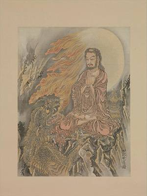 Shakyamuni Conquering The Demons Shaka Gma-zu Art Print by Kawanabe Kysai