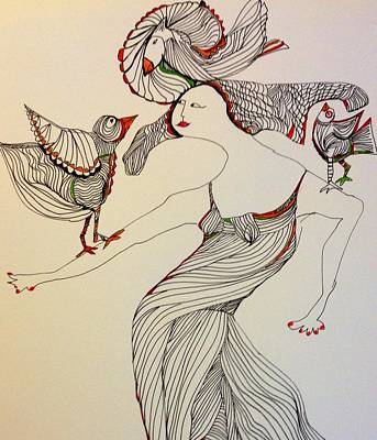 Wall Art - Drawing - Shall We Dance? by Rosalinde Reece