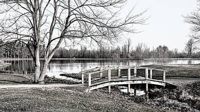 Photograph - Shallow Creek Footbridge - B/w by Greg Jackson