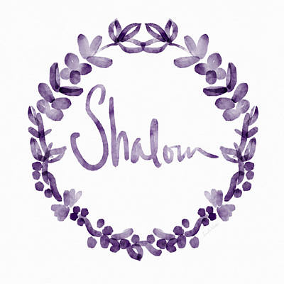 Wreath Painting - Shalom Wreath- Art By Linda Woods by Linda Woods
