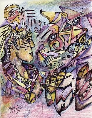 Drawing - Shaman And Falcon by Bruce Manaka