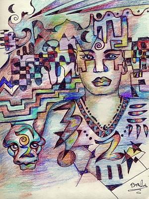 Drawing - Shaman And Serpent by Bruce Manaka