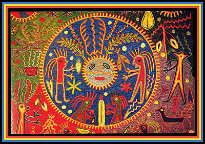 Digital Art - Shaman Huichol Peyote Sun Ritual  by Vagabond Folk Art - Virginia Vivier