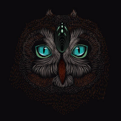 Digital Art - Shaman Spirit Owl by Serena King