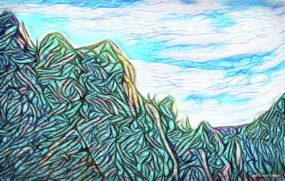 Digital Art - Shamanic Summit Vision - Mountain Sky Abstract by Joel Bruce Wallach