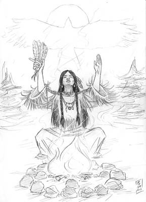 Black And White Eagle Drawing - Shaman's Breath by Brandy Woods