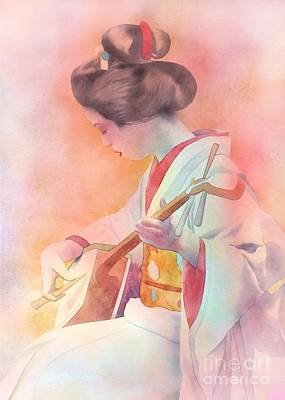 Painting - Shamisen Player by Robert Hooper