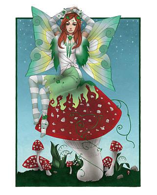 Mushroom Digital Art - Shamrock Fairy by KimiCookie Williams