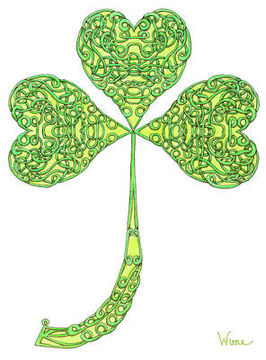 Drawing - Shamrock With Curled Stem by Lise Winne