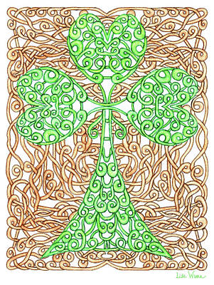 Drawing - Shamrock With Knotted Background by Lise Winne