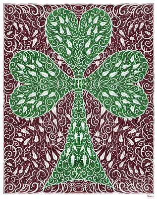 Digital Art - Shamrock With Leaves by Lise Winne